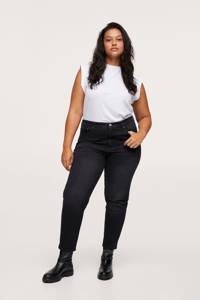 Mango Plus Size high waist straight fit jeans donkergrijs, Donkergrijs