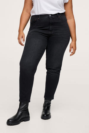 high waist straight fit jeans donkergrijs
