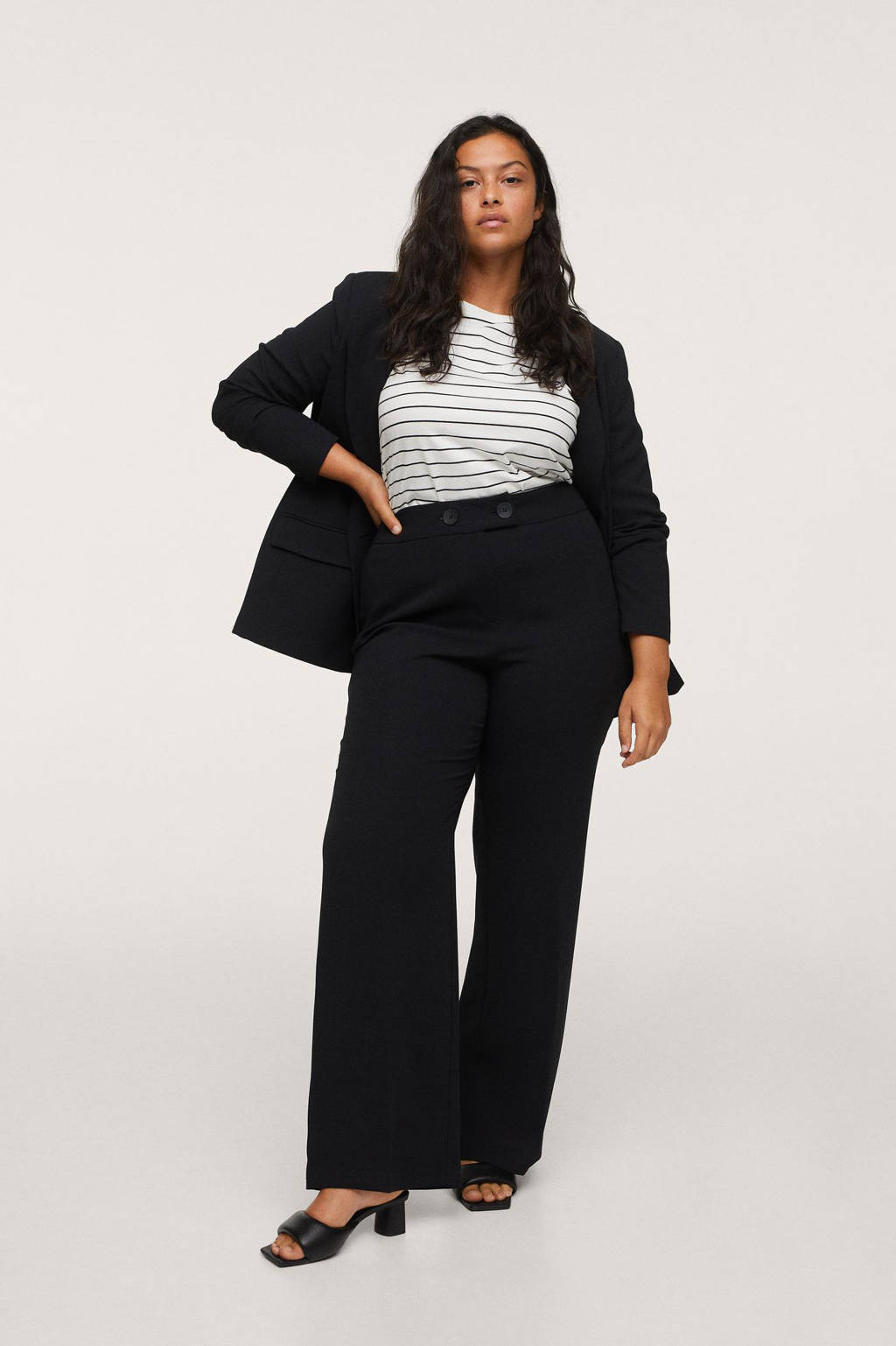 Mango Plus Size high waist wide leg palazzo broek zwart, Zwart