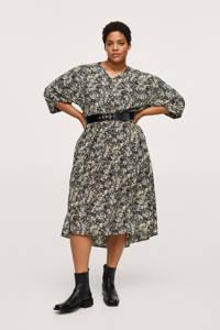 Mango Plus Size A-lijn jurk met all over print en ceintuur lichtgeel/zwart, Lichtgeel/zwart