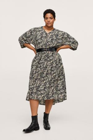 A-lijn jurk met all over print en ceintuur lichtgeel/zwart