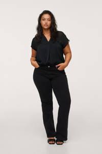Mango Plus Size semi-transparante top van gerecycled polyester zwart, Zwart