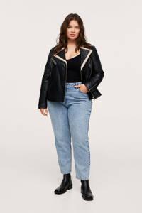 Mango Plus Size leren jas zwart/ecru, Zwart/ecru