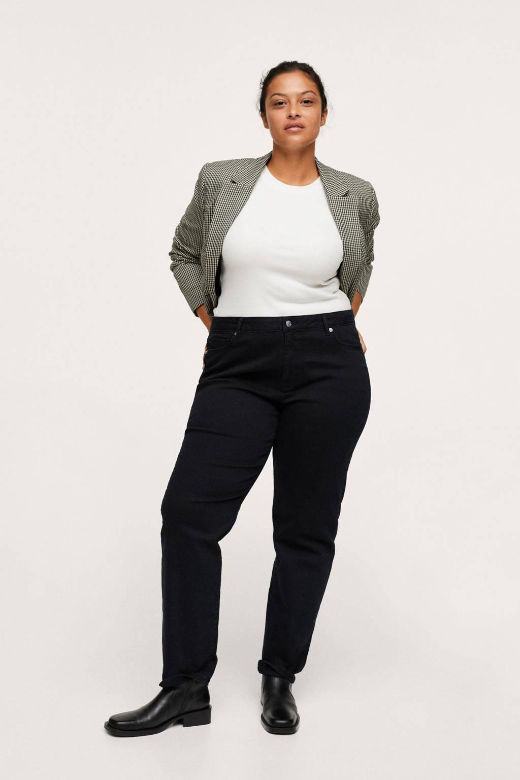 Mango Plus Size regular fit broek zwart, Zwart