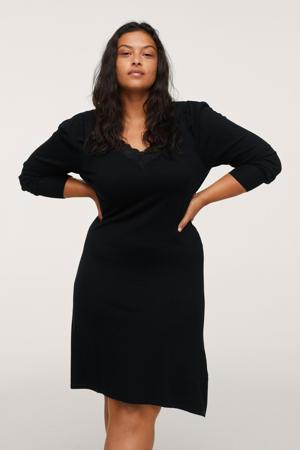 fijngebreide A-lijn jurk met kant zwart