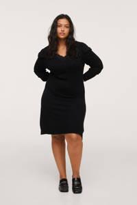 Mango Plus Size fijngebreide A-lijn jurk met kant zwart, Zwart