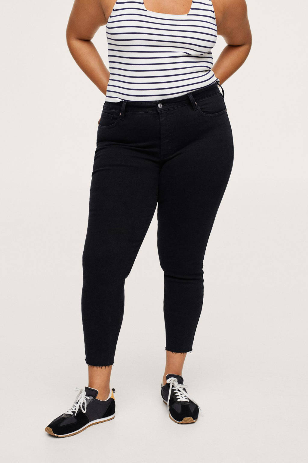 Mango Plus Size cropped skinny jeans antraciet, Antraciet