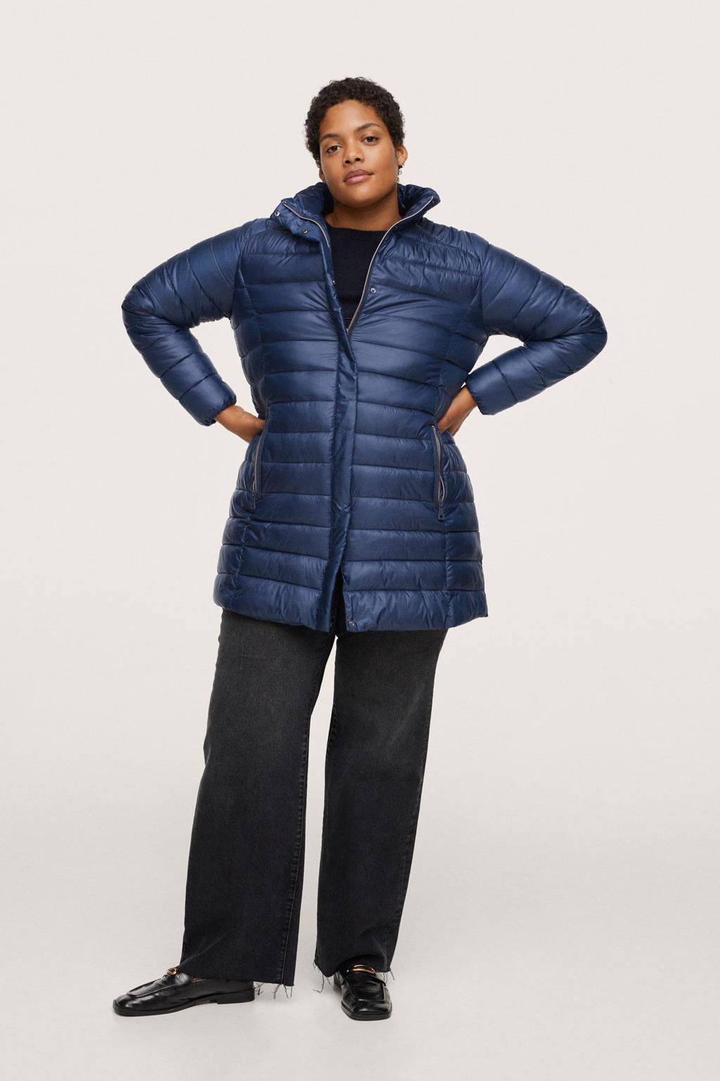 Mango Plus Size gewatteerde jas blauw, Blauw