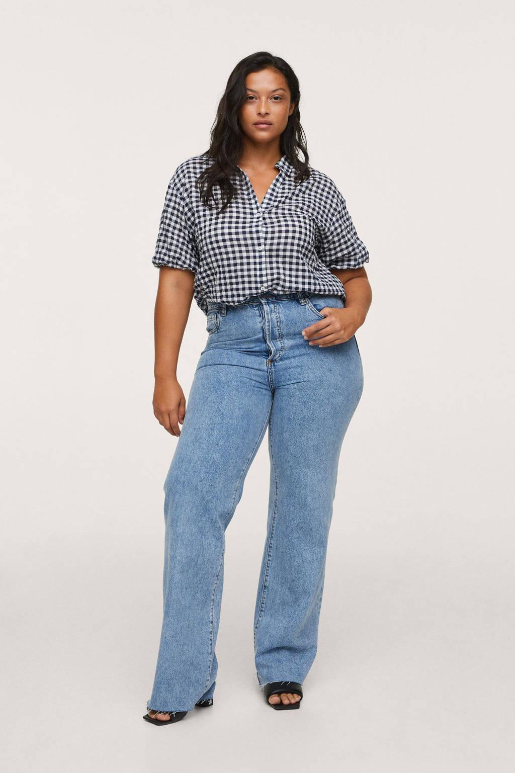 Mango Plus Size geruite blouse donkerblauw/wit, Donkerblauw/wit