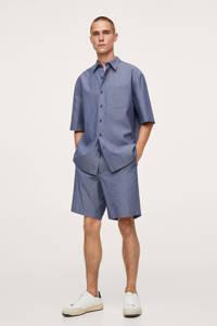 Mango Man regular fit overhemd middenblauw