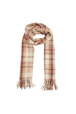 geruite sjaal beige/bruin
