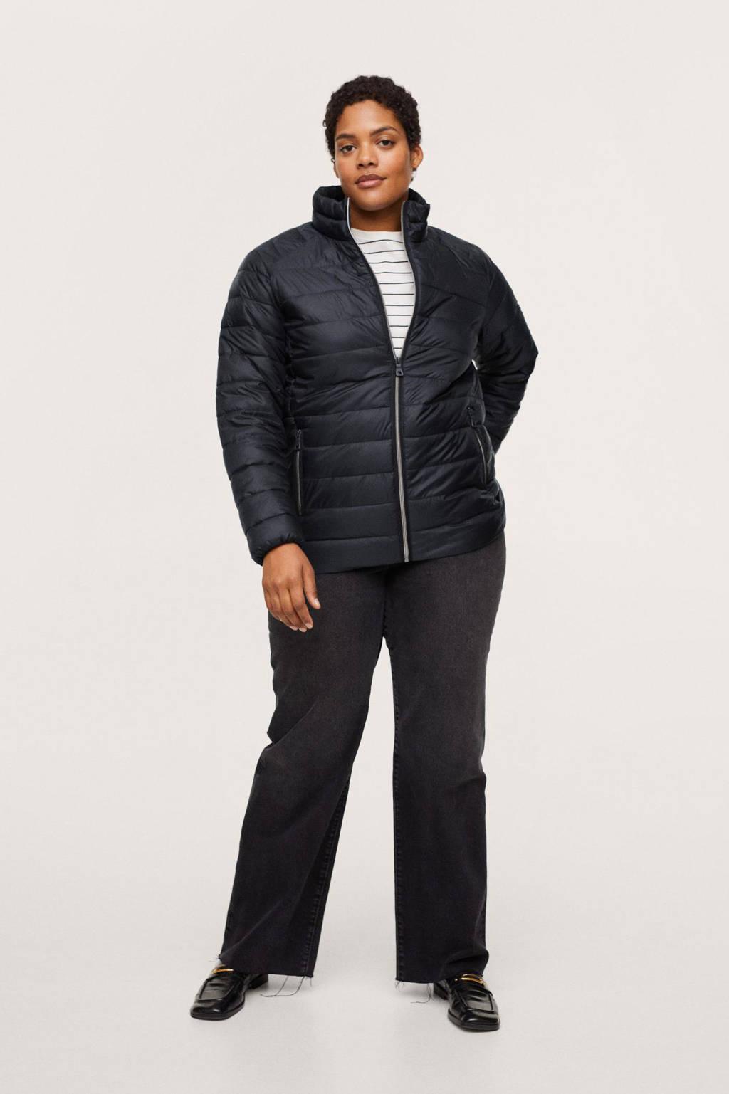 Mango Plus Size gewatteerde jas zwart, Zwart