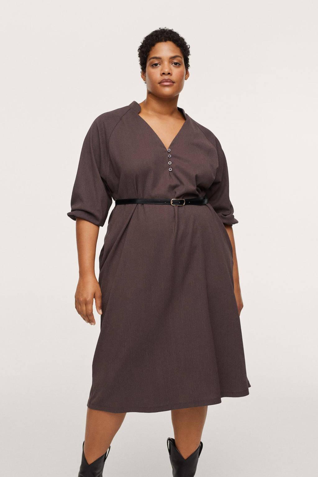 Mango Plus Size jurk met textuur bruin, Bruin