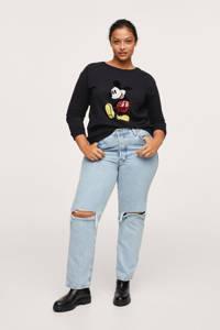 Mango Plus Size Mickey Mouse sweater met printopdruk en pailletten zwart/rood/geel, Zwart/rood/geel
