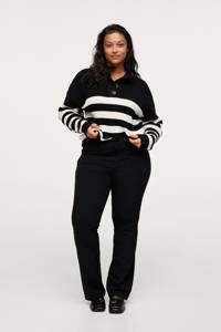 Mango Plus Size flared broek zwart, Zwart