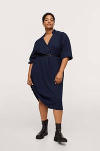 Mango Plus Size jurk met textuur donkerblauw, Donkerblauw