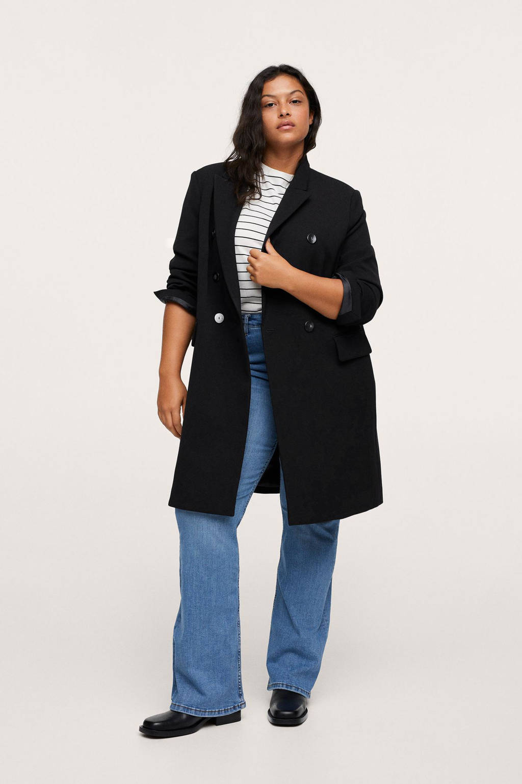Mango Plus Size  coat zwart, Zwart
