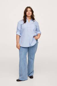 Mango Plus Size gestreepte blouse lichtblauw, Lichtblauw