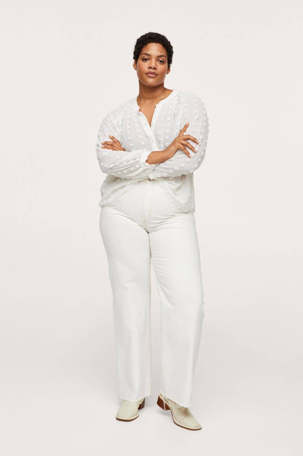 Mango Plus Size blouse met textuur wit, Wit