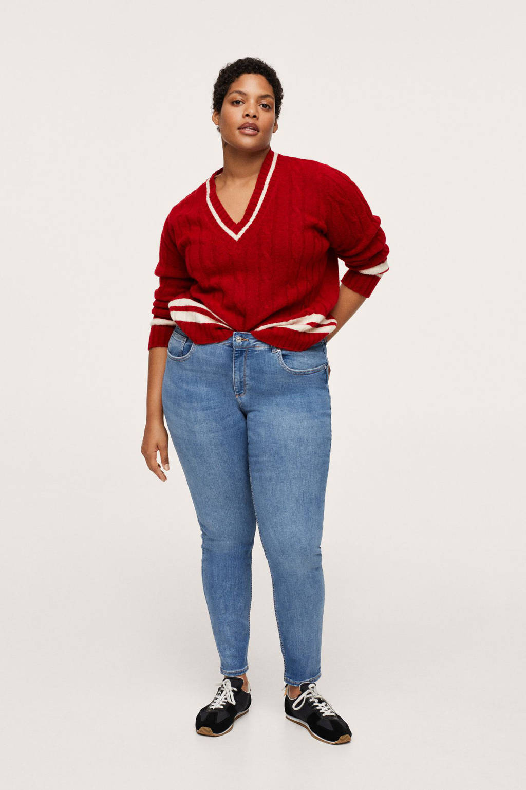 Mango Plus Size low waist push-up skinny jeans light denim, Light denim