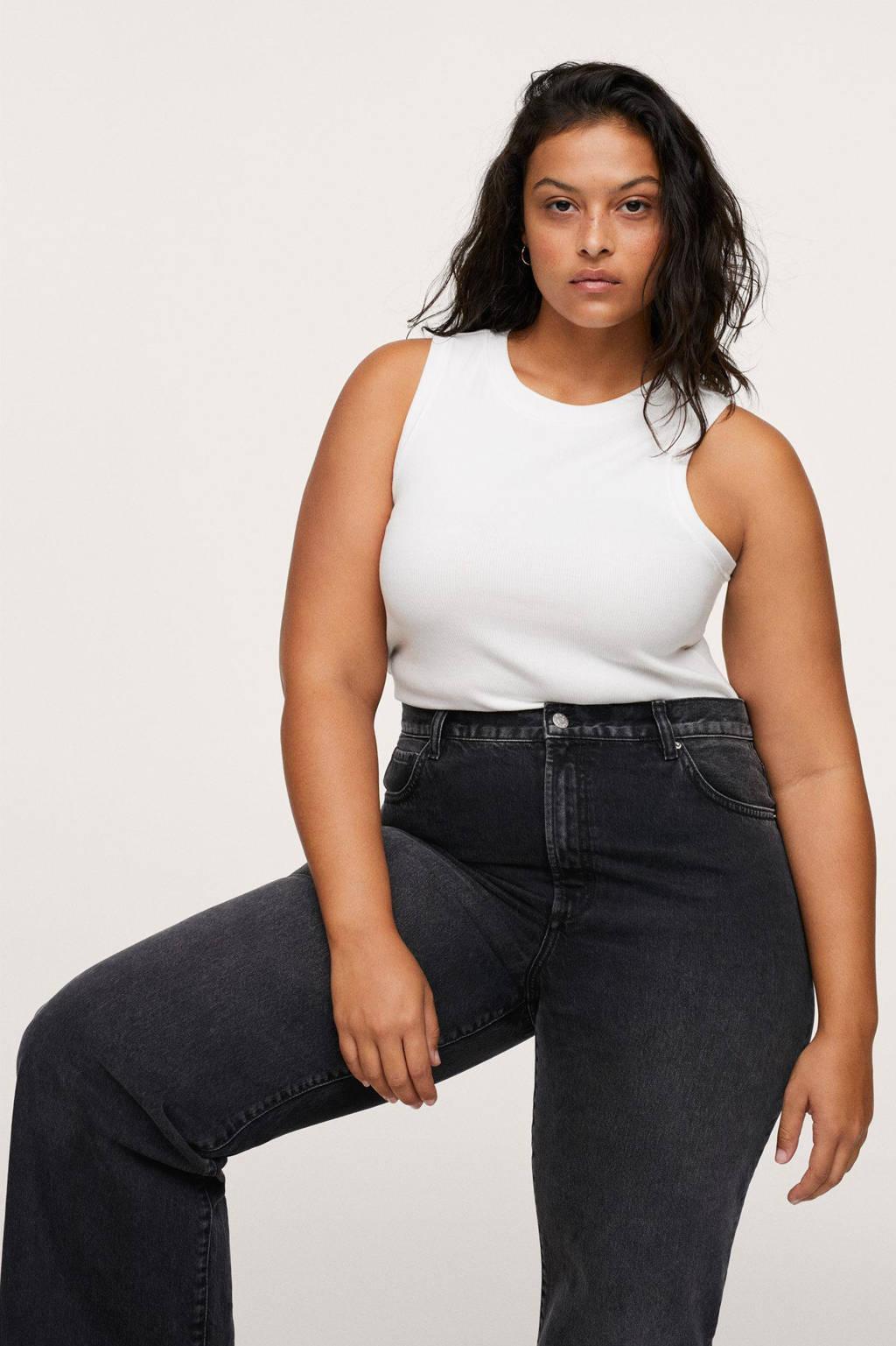 Mango Plus Size high waist wide leg jeans antraciet, Antraciet