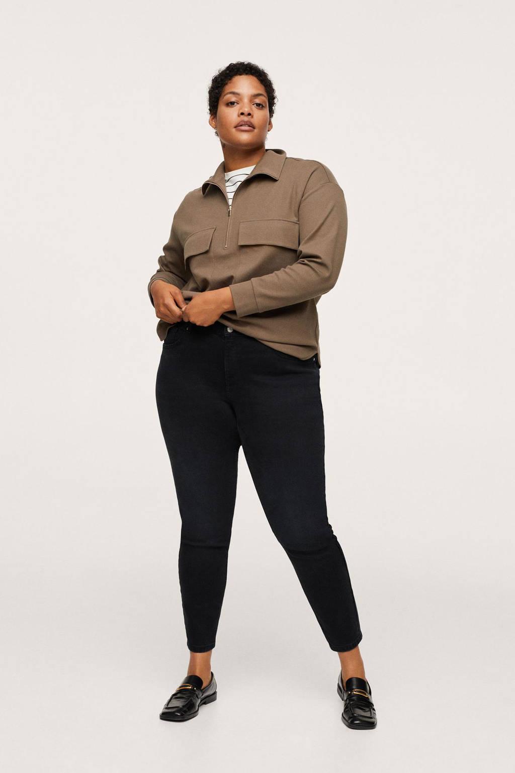 Mango Plus Size low waist skinny jeans zwart, Zwart