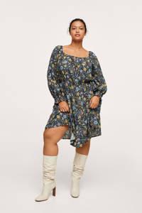 Mango Plus Size gebloemde A-lijn jurk blauw, Blauw