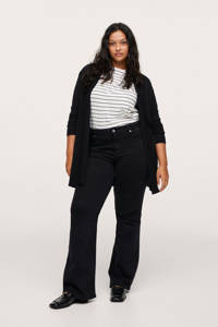 Mango Plus Size fijngebreid vest zwart, Zwart