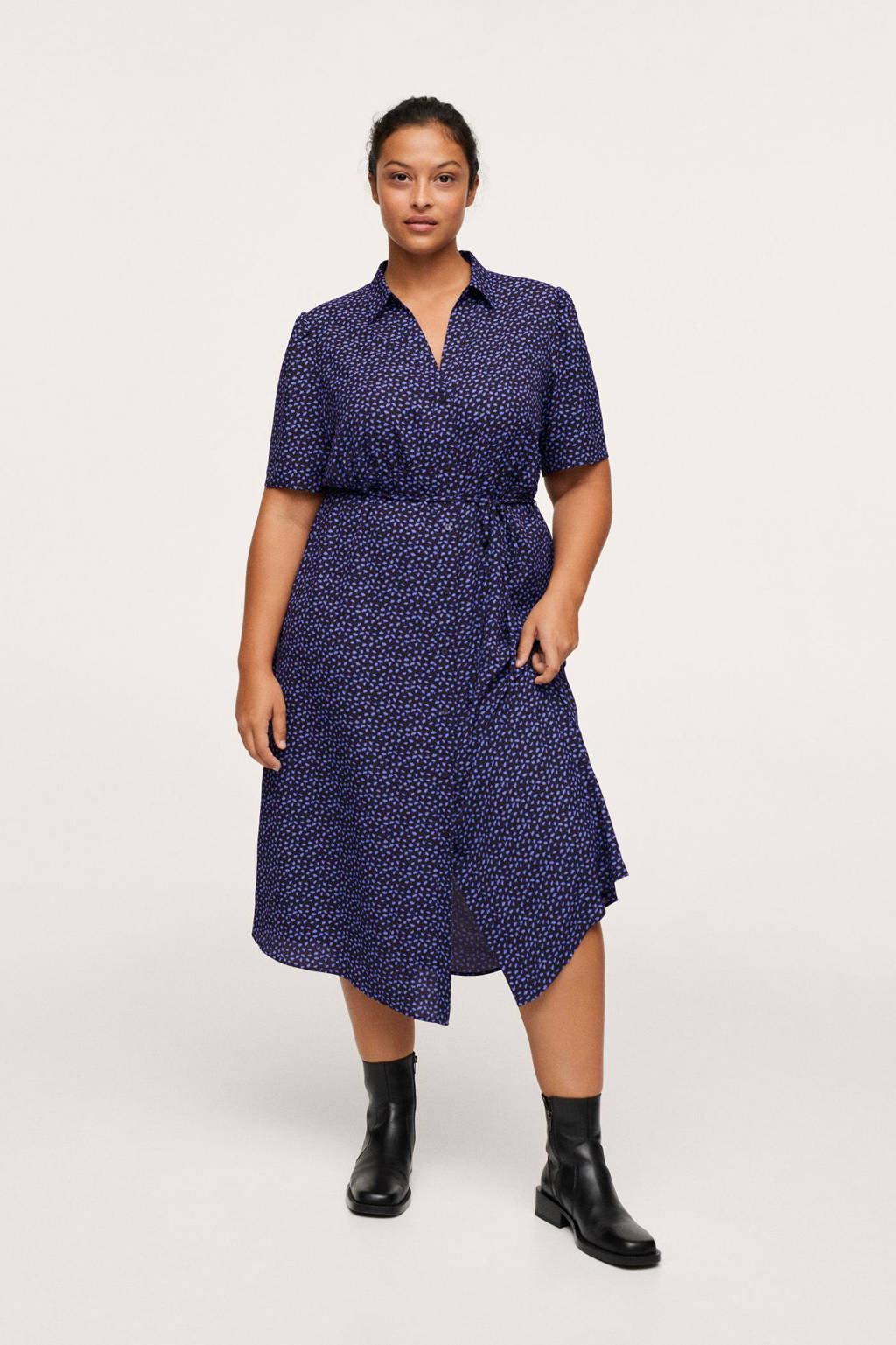 Mango Plus Size jurk van gerecycled polyester zwart/blauw, Zwart/blauw