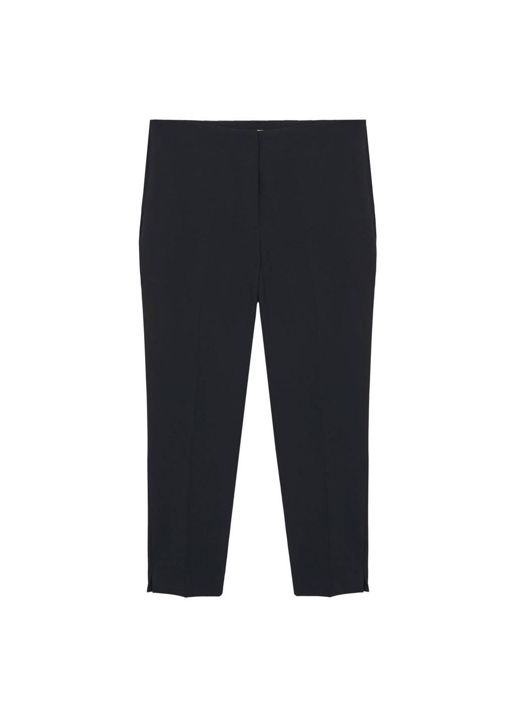 Mango Plus Size high waist straight fit pantalon zwart, Zwart