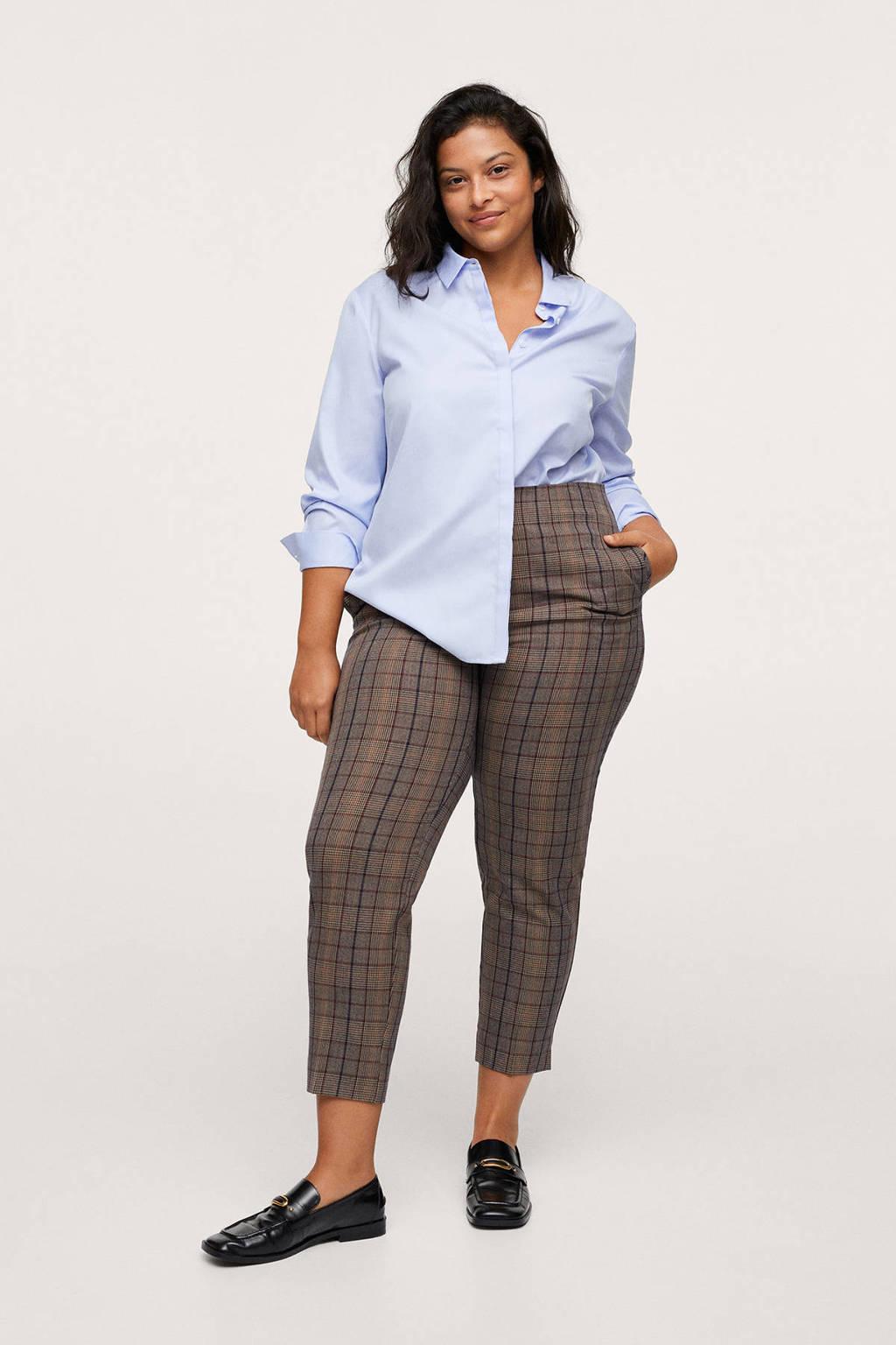 Mango Plus Size geruite cropped high waist straight fit pantalon bruin/donkerblauw/rood, Bruin/donkerblauw/rood