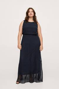 Mango Plus Size semi-transparante maxi jurk met kant donkerblauw, Donkerblauw