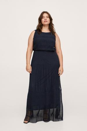 semi-transparante maxi jurk met kant donkerblauw