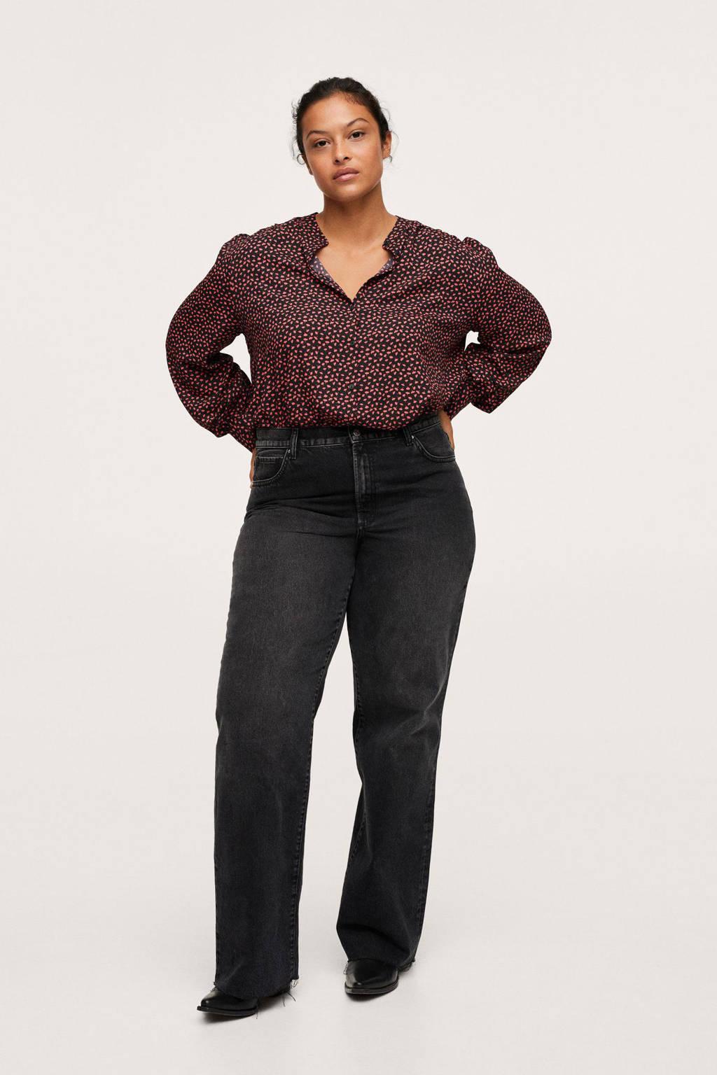 Mango Plus Size top van gerecycled polyester zwart/rood, Zwart/rood