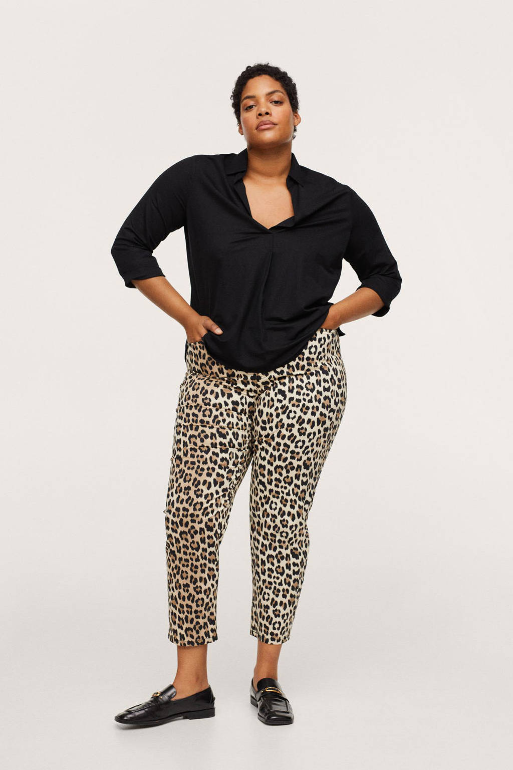 Mango Plus Size blouse zwart, Zwart