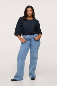 Mango Plus Size top met open detail blauw, Blauw