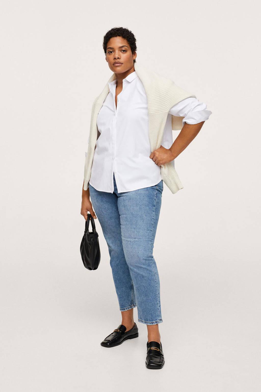 Mango Plus Size basis blouse met klassieke kraag wit, Wit