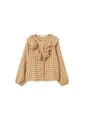 geruite blouse middengeel/wit