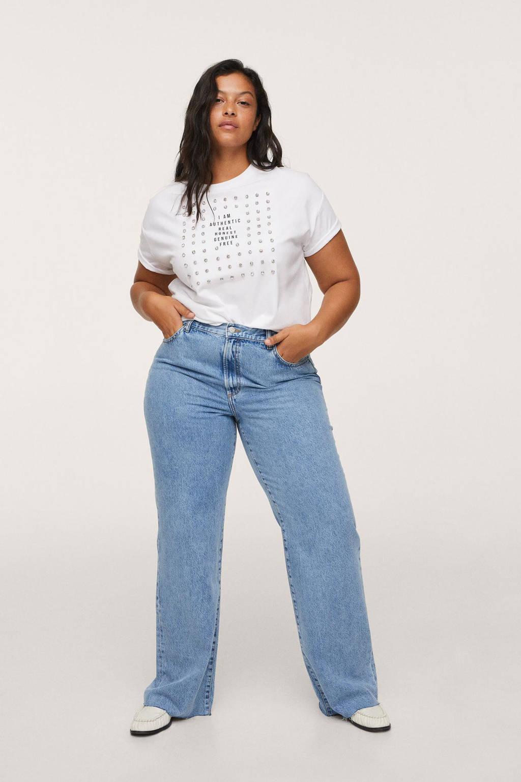 Mango Plus Size T-shirt van biologisch katoen wit, Wit