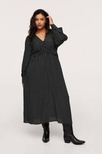 Mango Plus Size maxi jurk met stippen en plooien zwart/wit, Zwart/wit