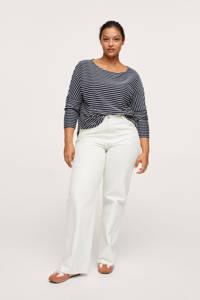 Mango Plus Size gestreepte trui donkerblauw/wit, Donkerblauw/wit