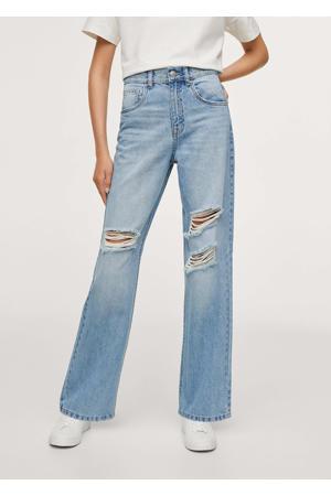 high waist straight fit jeans met slijtage lichtblauw