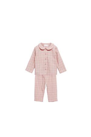 geruite pyjama roze