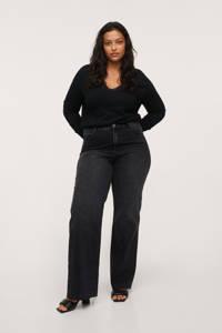 Mango Plus Size fijngebreide trui met kant zwart, Zwart