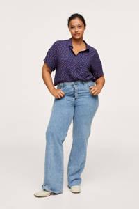 Mango Plus Size blouse met stippen donkerblauw/roze, Donkerblauw/roze