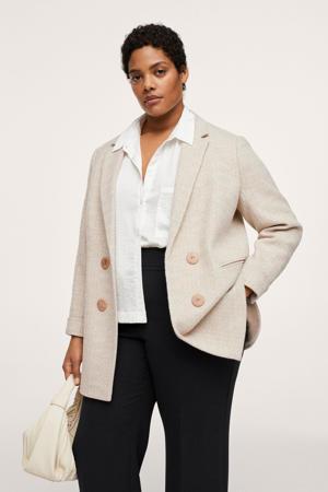 wollen  coat tussen met visgraat beige
