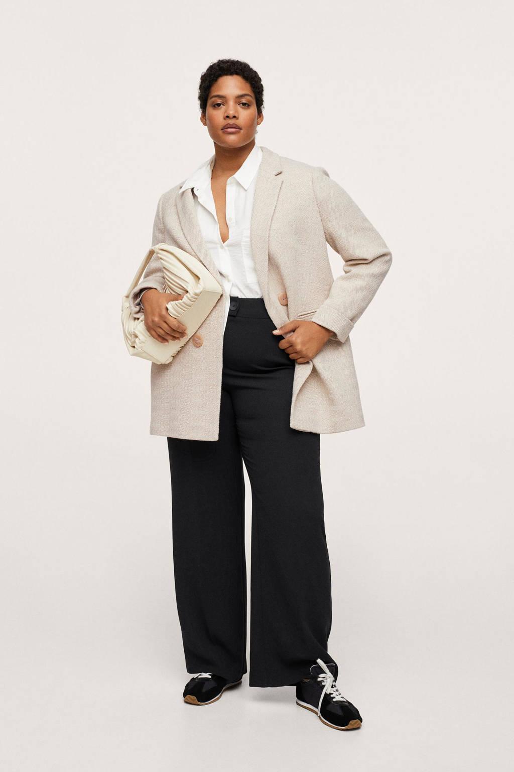 Mango Plus Size wollen  coat tussen met visgraat beige, Beige