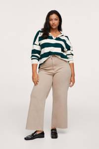 Mango Plus Size high waist wide leg broek beige, Beige