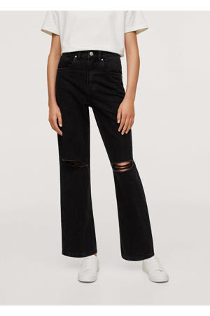 high waist straight fit jeans met slijtage donkergrijs