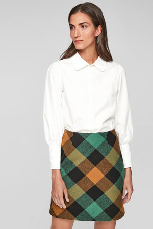 geruite rok met wol marine/groen/oranje